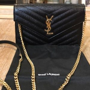 Saint Laurent Monogram Matelassé Purse Gold Chain